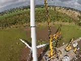 Drone Pilot Footage 500 Kw Wind Turbine Installation
