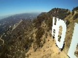 Drone Quadcopter Films Hollywood Sign Up Close