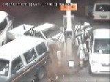 Drunk Driver Hits Petrol Pump And Makes A Run For It!!