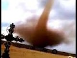 Daredevils Film Swirling 'landspout' Tornado From Just 100 Yards Away As It Tears Through Texas Fields