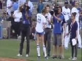 Drunk Model Throws Out First Pitch In Short Shorts