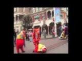 Disney Characters Falling Over At Disneyland