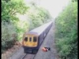 Drunk Idiot Man Saved By Railway Worker