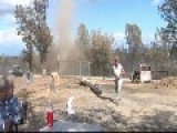 Dust Devil Whips Through Folks Backyard While They're Having Lunch