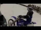 Dirt Bike Snow Wheelie Doesn't Go As Planned