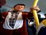 Drunk Guy Wearing A Squirrel Costume Falling Asleep Standing On A Bus