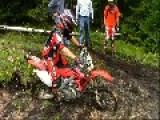 Dirt Biker Gets Stuck In Mud And Faceplants