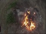 Drone Checking Out A Bonfire