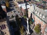 Deconstruction Of Burnt Church Steeple In Burlington VT Using A Hexa And A Quad Drones