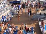 Drunk Woman Crazy Dancing On Royal Caribbean Pool Deck