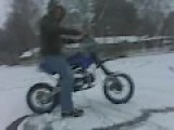 Drifting On Snow On 2007 125cc Dirt Bike