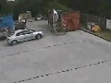Driver Crashes Into Ladder With Man On It
