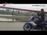 Drive Motobike With Foot In Viet Nam