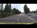 Driver Misjudges Overtake And Hits A Road Sign