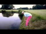 Drunk Golfer Falls In The Water Trying To Hit Golf Ball