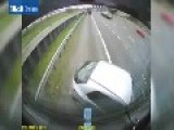 Driver Misjudges Gap Between Two Lorrys