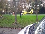 Emergency Chopper Close To The Highway A27