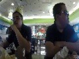 Eating Burgerking In Mcdonalds
