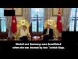 Euro-cucks HUMILIATED In Turkey With Merkel Framed By Two Turkrat Flags, No German Flag