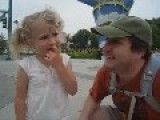Expression Cute Little Girl When She Was In Disneyland
