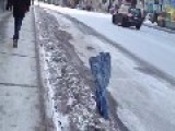 Frozen Jeans Sticking Out Of The Ground