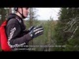 Finnish Motocross Rider Jumps Bike Over Trees Into A River