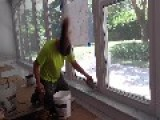 Fun Guy Spins His Head Like A Metal Rock Star While Doing Construction