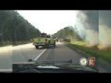 Fiery Car Accident From Cop Car Dash Cam