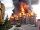Fire Engulfs Entire Apartment Block In Minutes