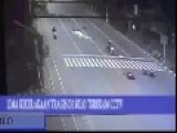 Flying Body Of Motorcyclist Sends Away Sparks