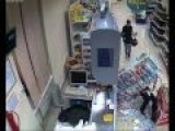 Falling On Floor By The Chain In Super Market