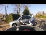 Family Truns In Front Of A Motorcycle Causing A Scary Crash
