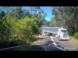 Fallen Tree, Semi Trailer Country Road, Blind Corner