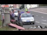 Ferrari Crashed Into A Pole In The Center Of Moscow