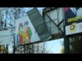 Freedom Of Speech In Ukraine Opposition Election Billboard Torn Down By Government Supporters