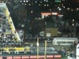 Football Fan Climbs The Uprights During CFL Game