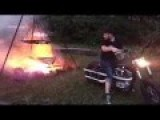 Feeding A Fire With A Motorcycle