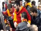 Footboll Fanatics Swearing On Metro And Girl Slapping Guy