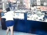 FAT WOMAN Breaks A Glass Case With HUGE BOULDER
