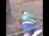 Fat Kid Falls Trying To Climb A Tree