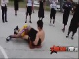 Fight Breaks Out Between Hispanic & Black Guy In Basketball Court