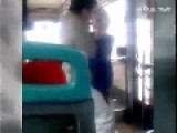 Female Driver Beats Nerd Wearing Glasses On Bus