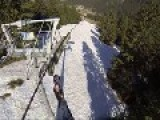 First-Person Video Of A Speed Rider Grinding Down Chair Lift Cables On Skis