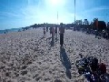 Gymnast Ruins Yoga Ball On Beach