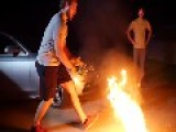 Guys Play Intense Game Of Flaming Basketball