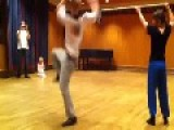 Guy Falls While Performing Norwegian Folk Dance
