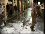 Giant Hail Stones Rain Down On Italian City Of Florence