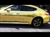 Gold Porsche Panamera 2014 In Prague