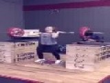Girl Performs Barbell Jerk With 170 Lbs