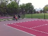 Girl Faceplants Trying To Jump Tennis Net